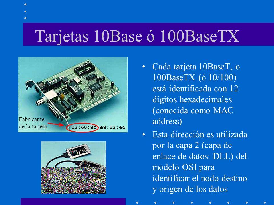 Tarjetas 10Base ó 100BaseTX Cada tarjeta 10BaseT, o 100BaseTX (ó 10/100) está identificada con 12 dígitos hexadecimales (conocida como MAC address)