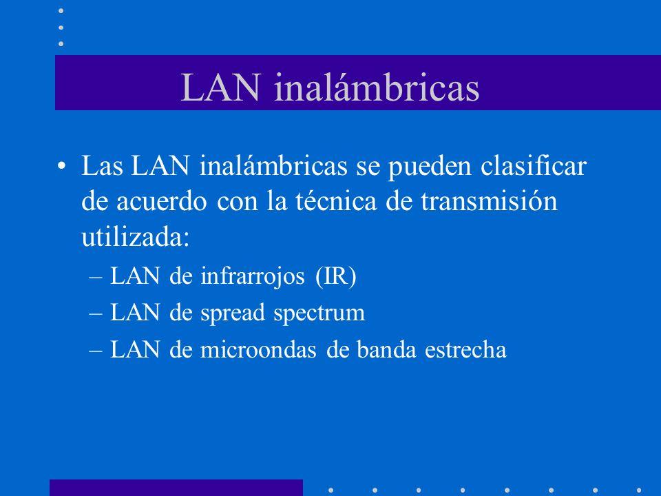 LAN inalámbricas Las LAN inalámbricas se pueden clasificar de acuerdo con la técnica de transmisión utilizada: