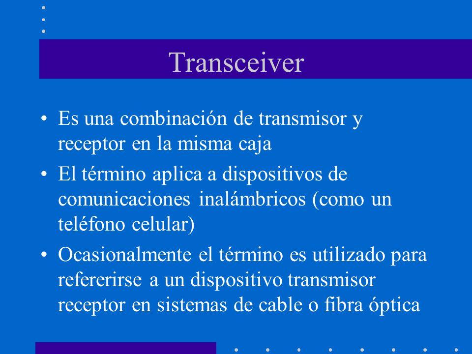 Transceiver Es una combinación de transmisor y receptor en la misma caja.