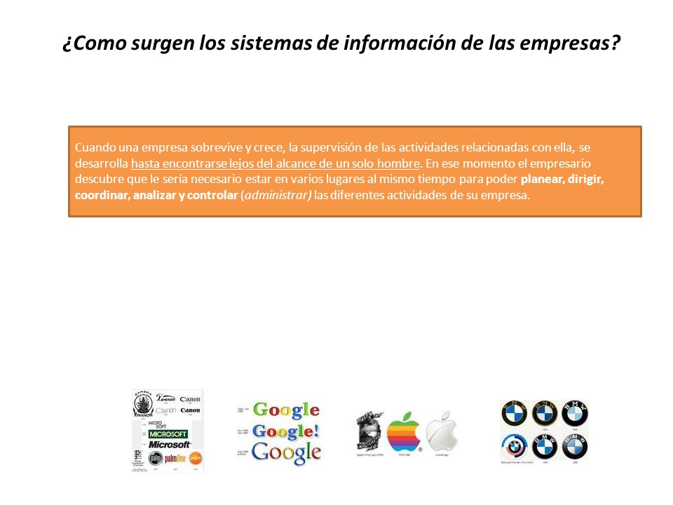 ¿Como surgen los sistemas de información de las empresas