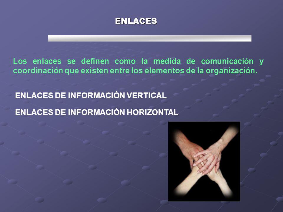 ENLACES Los enlaces se definen como la medida de comunicación y coordinación que existen entre los elementos de la organización.