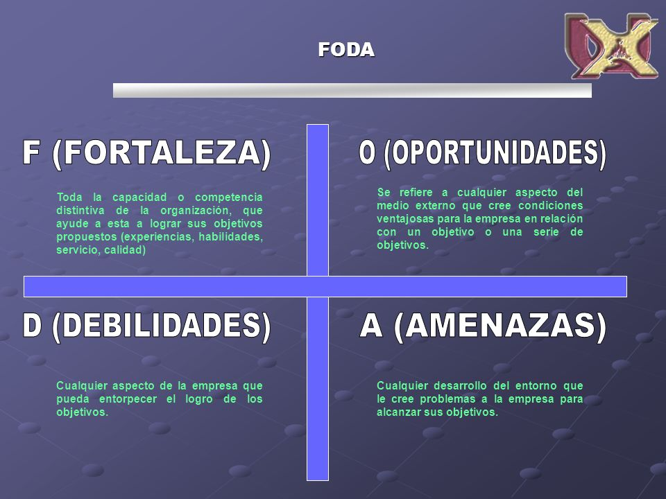 F (FORTALEZA) O (OPORTUNIDADES) D (DEBILIDADES) A (AMENAZAS) FODA