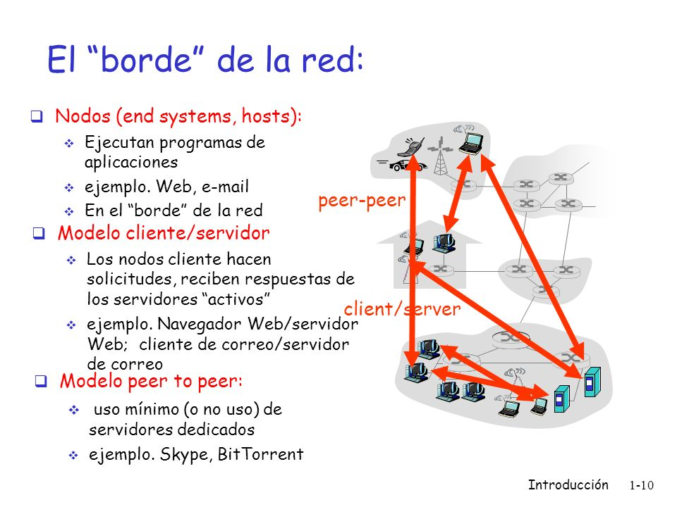 El borde de la red: Nodos (end systems, hosts): peer-peer
