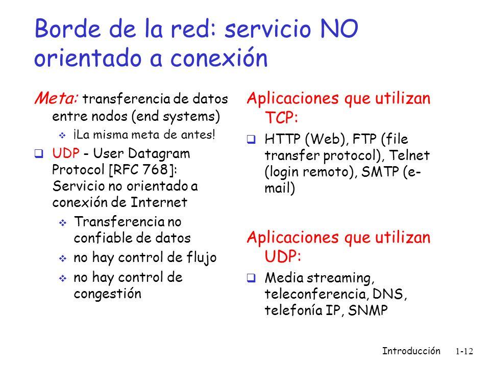 Borde de la red: servicio NO orientado a conexión