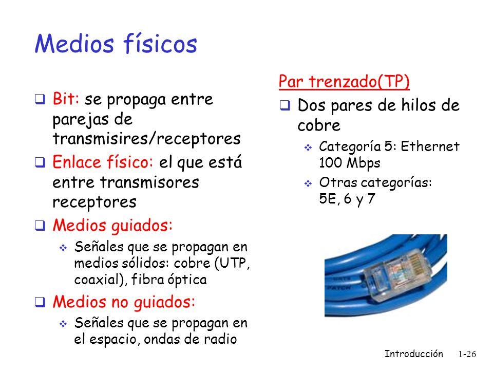 Medios físicos Par trenzado(TP) Dos pares de hilos de cobre