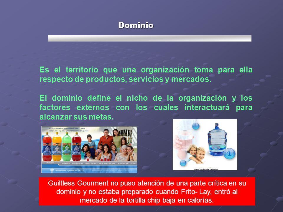 Dominio Es el territorio que una organización toma para ella respecto de productos, servicios y mercados.