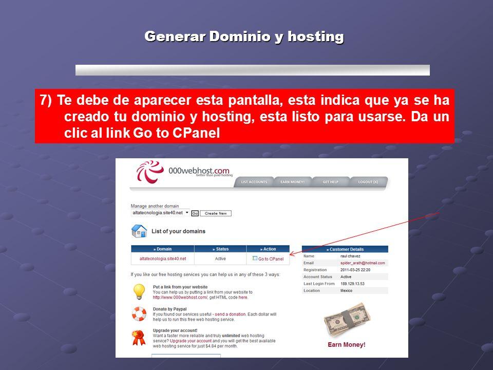 Generar Dominio y hosting