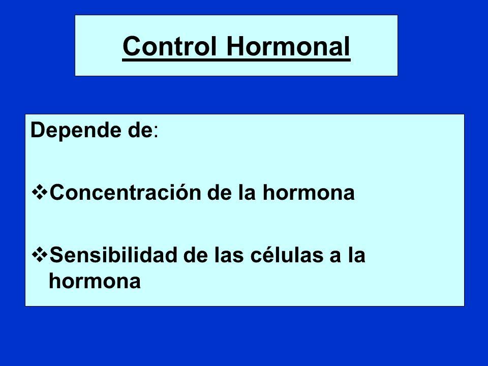 Control Hormonal Depende de: Concentración de la hormona