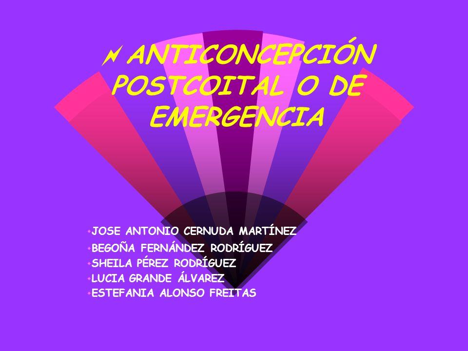ANTICONCEPCIÓN POSTCOITAL O DE EMERGENCIA