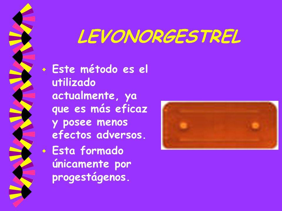 LEVONORGESTRELEste método es el utilizado actualmente, ya que es más eficaz y posee menos efectos adversos.