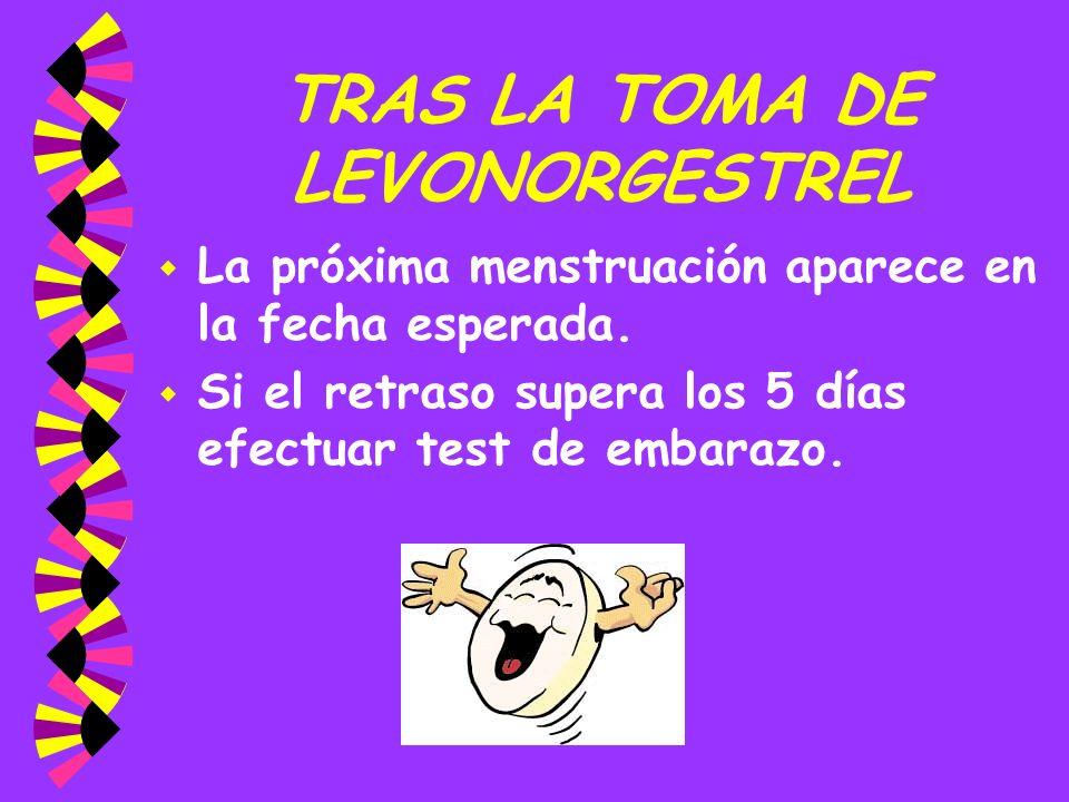 TRAS LA TOMA DE LEVONORGESTREL
