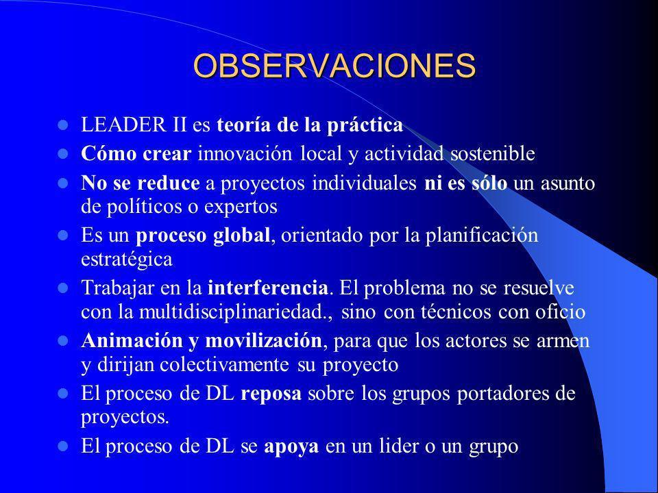 OBSERVACIONES LEADER II es teoría de la práctica
