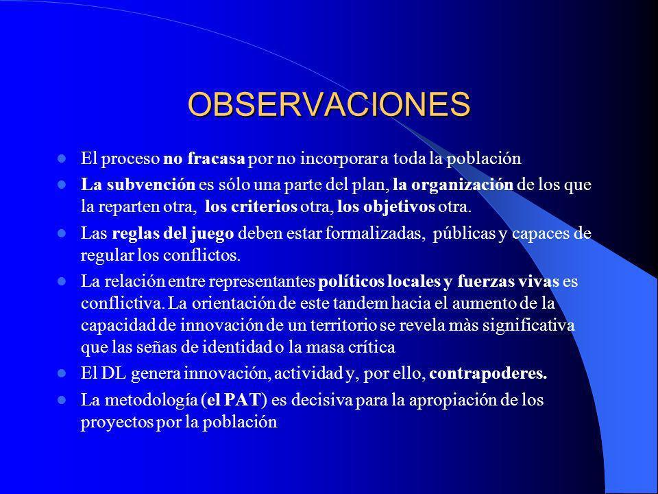 OBSERVACIONES El proceso no fracasa por no incorporar a toda la población.