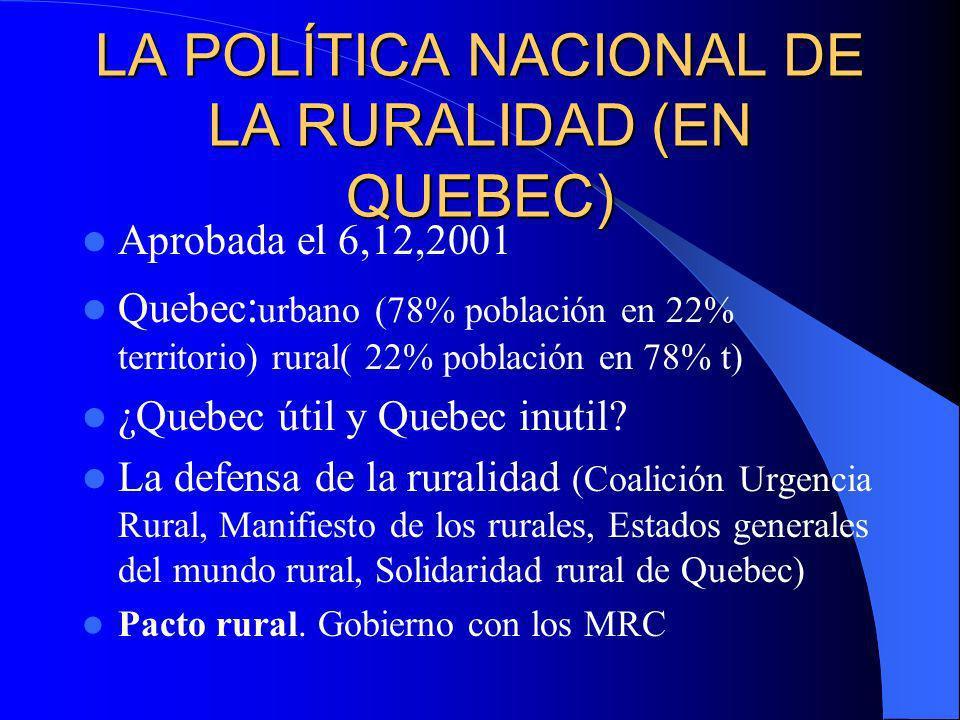 LA POLÍTICA NACIONAL DE LA RURALIDAD (EN QUEBEC)