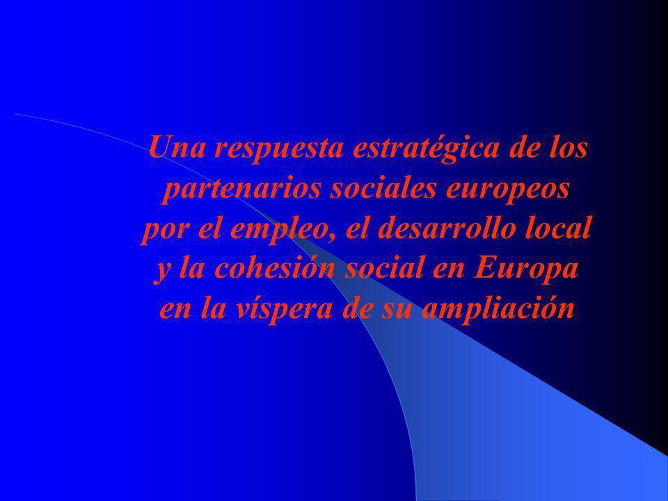 Una respuesta estratégica de los partenarios sociales europeos por el empleo, el desarrollo local y la cohesión social en Europa en la víspera de su ampliación