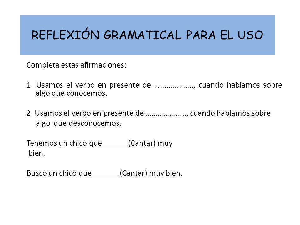 REFLEXIÓN GRAMATICAL PARA EL USO