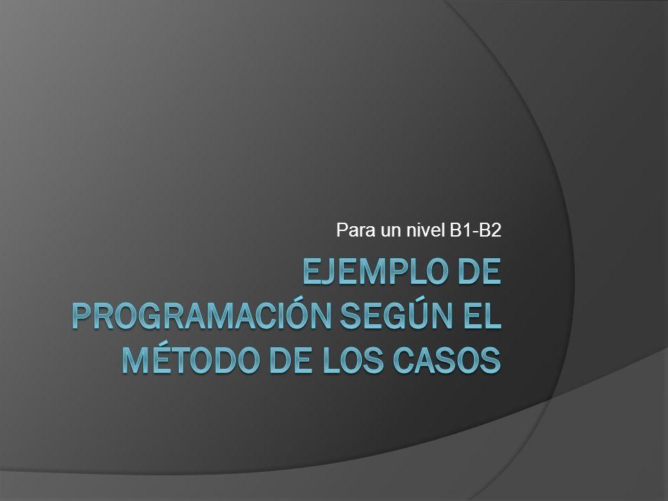EJEMPLO DE PROGRAMACIÓN SEGÚN EL MÉTODO DE LOS CASOS