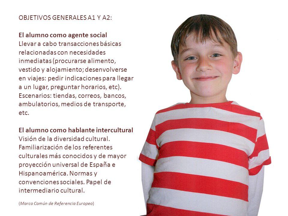 OBJETIVOS GENERALES A1 Y A2: El alumno como agente social