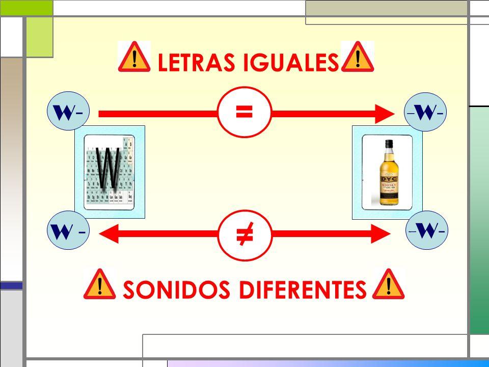LETRAS IGUALES = W- -W- W - = -W- SONIDOS DIFERENTES