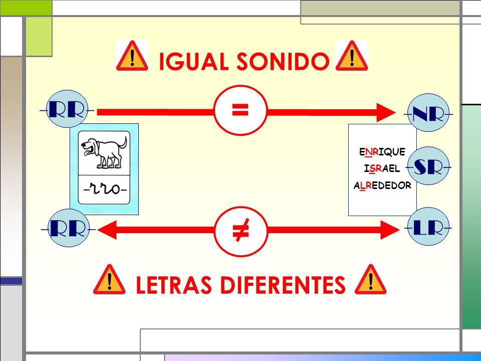 = = IGUAL SONIDO -RR- -NR- -SR- -RR- -LR- LETRAS DIFERENTES ENRIQUE
