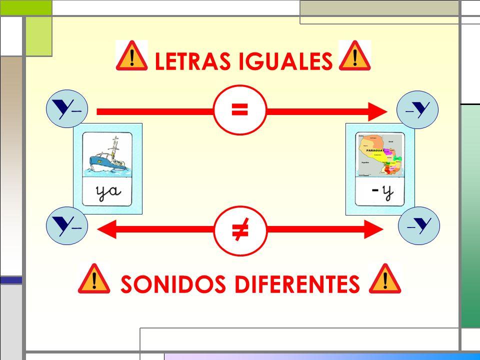 LETRAS IGUALES = Y- -Y Y- = -Y SONIDOS DIFERENTES