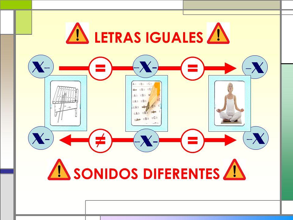 LETRAS IGUALES X- -X- = = -X X- -X = -X- = SONIDOS DIFERENTES