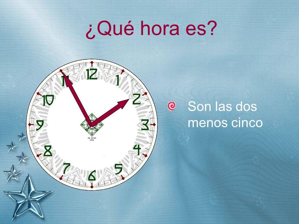 ¿Qué hora es Son las dos menos cinco