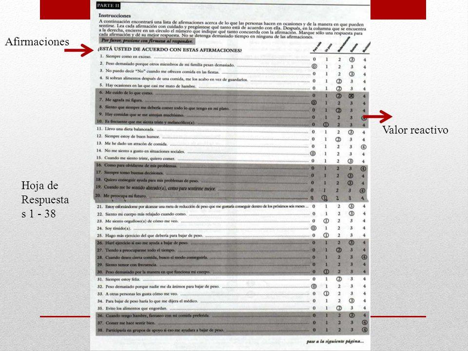 Afirmaciones Valor reactivo Hoja de Respuestas 1 - 38