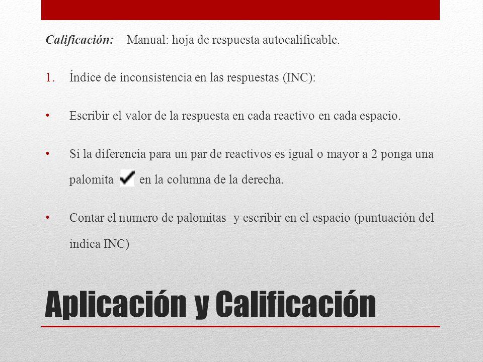 Aplicación y Calificación