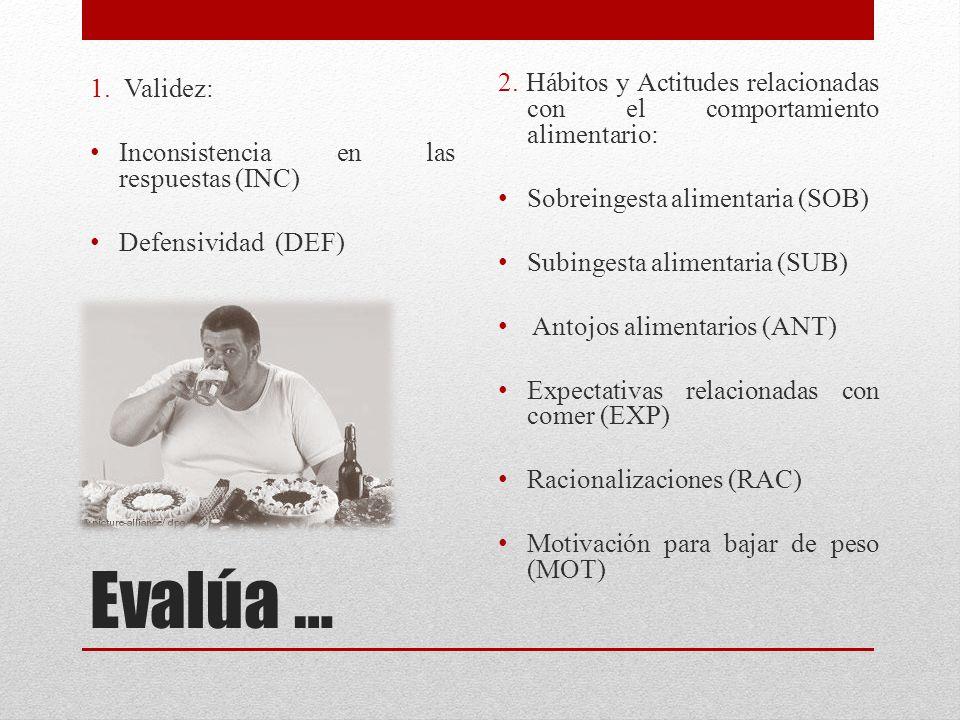 1. Validez: Inconsistencia en las respuestas (INC) Defensividad (DEF) 2. Hábitos y Actitudes relacionadas con el comportamiento alimentario: