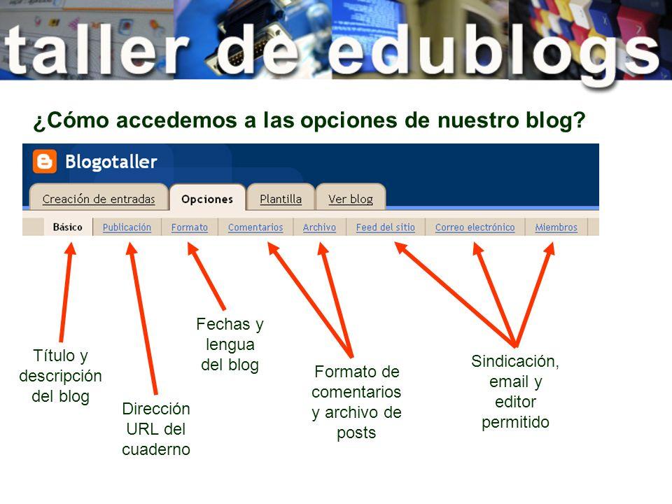 ¿Cómo accedemos a las opciones de nuestro blog