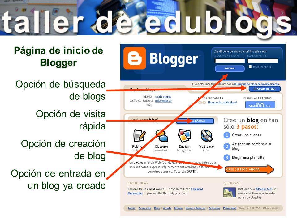 Página de inicio de Blogger
