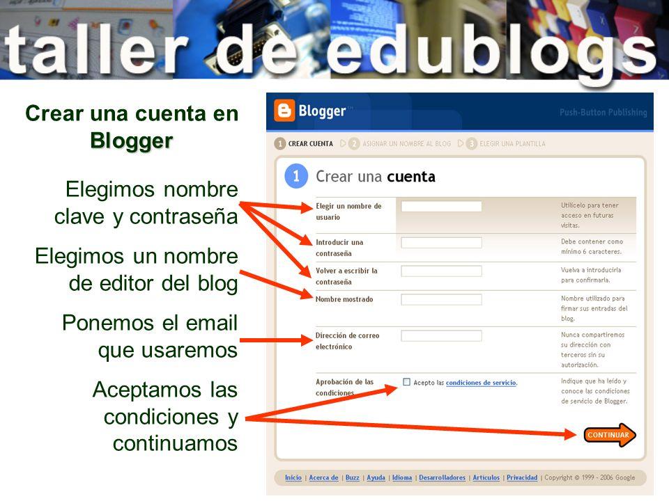Crear una cuenta en Blogger