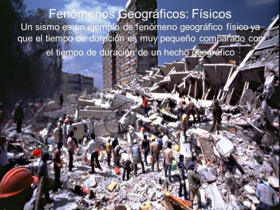 Fenómenos Geográficos: Físicos Un sismo es un ejemplo de fenómeno geográfico físico ya que el tiempo de duración es muy pequeño comparado con el tiempo de duración de un hecho geográfico