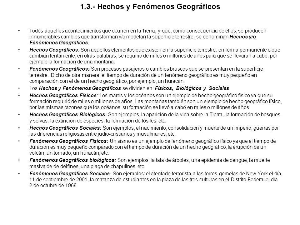1.3.- Hechos y Fenómenos Geográficos