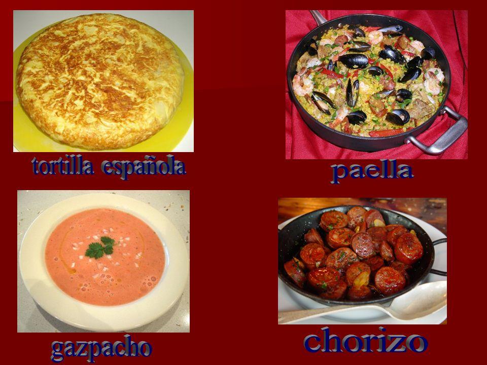 tortilla española paella chorizo gazpacho