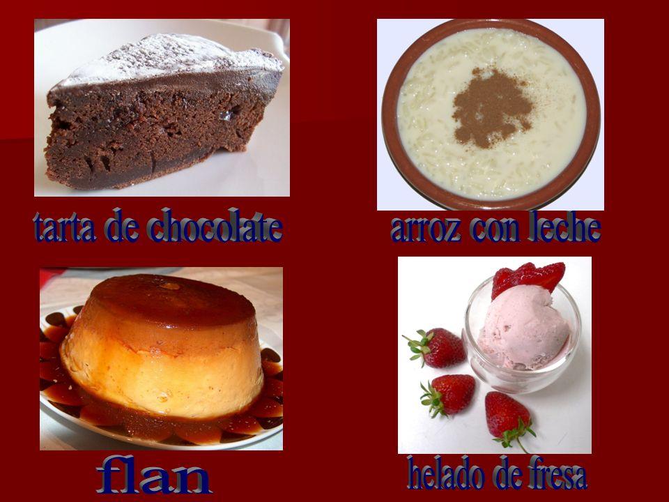 tarta de chocolate arroz con leche flan helado de fresa