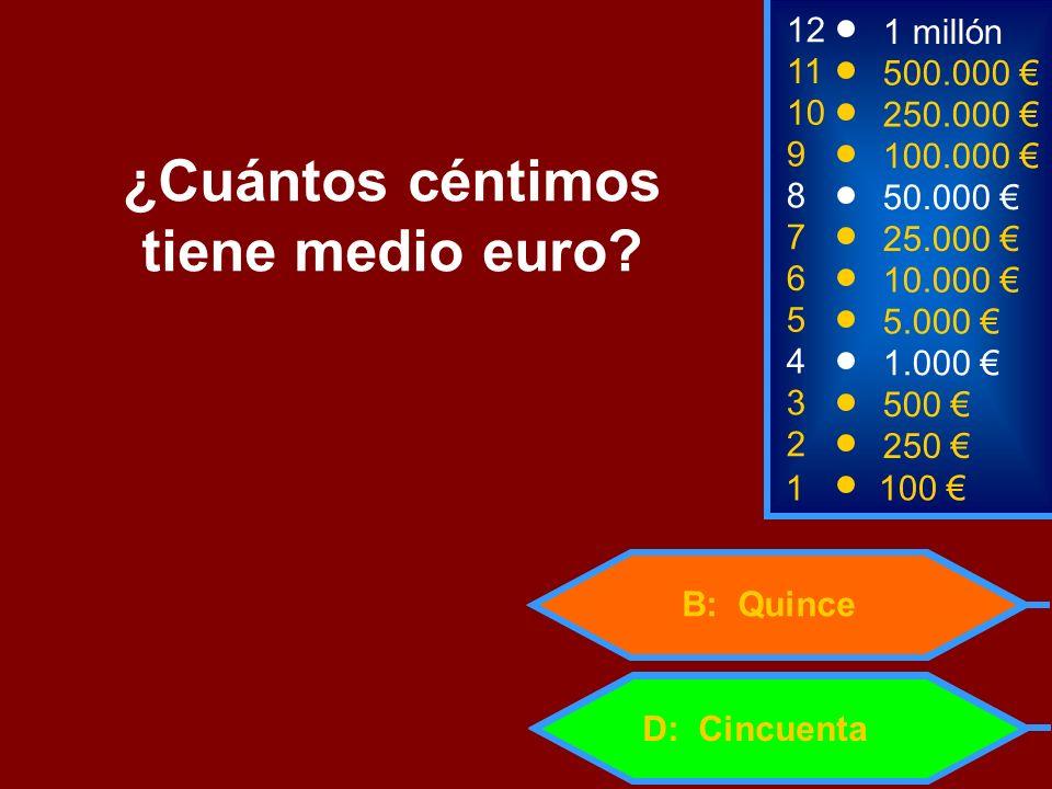 ¿Cuántos céntimos tiene medio euro