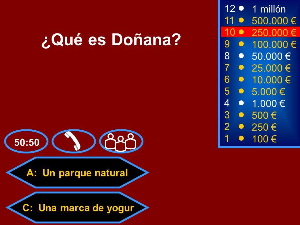 ¿Qué es Doñana 12 1 millón 11 500.000 € 10 250.000 € 9 100.000 € 8
