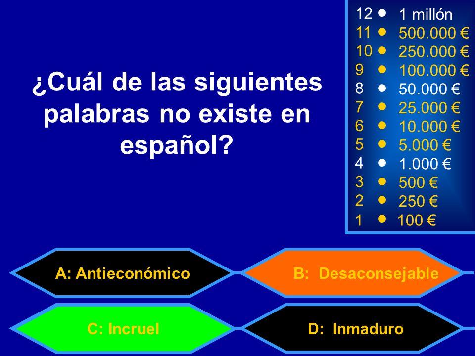 ¿Cuál de las siguientes palabras no existe en español