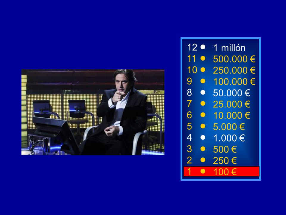 12 1 millón. 11. 500.000 € 10. 250.000 € 9. 100.000 € 8. 50.000 € 7. 25.000 € 6. 10.000 €