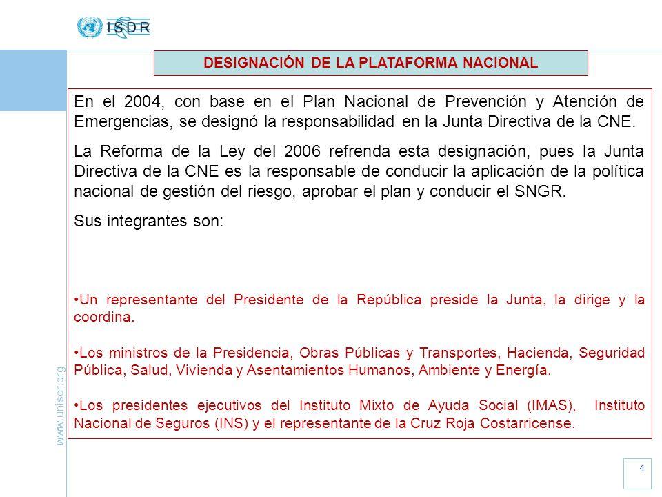 DESIGNACIÓN DE LA PLATAFORMA NACIONAL