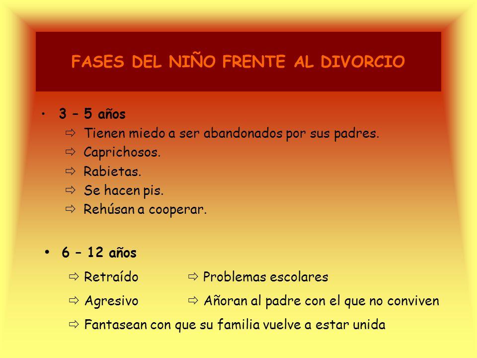 FASES DEL NIÑO FRENTE AL DIVORCIO