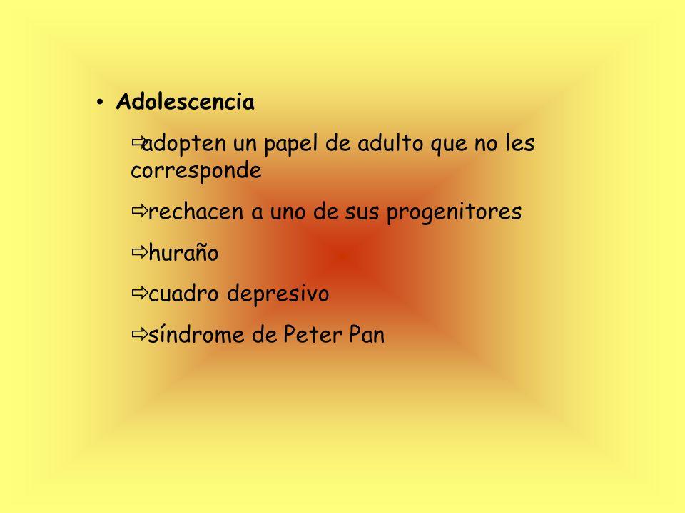 Adolescencia adopten un papel de adulto que no les corresponde. rechacen a uno de sus progenitores.