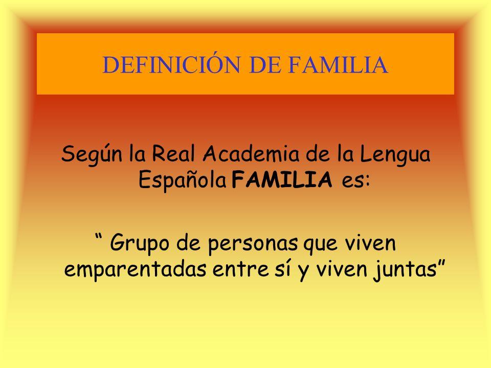 DEFINICIÓN DE FAMILIASegún la Real Academia de la Lengua Española FAMILIA es: Grupo de personas que viven emparentadas entre sí y viven juntas