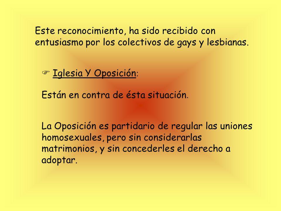 Este reconocimiento, ha sido recibido con entusiasmo por los colectivos de gays y lesbianas.