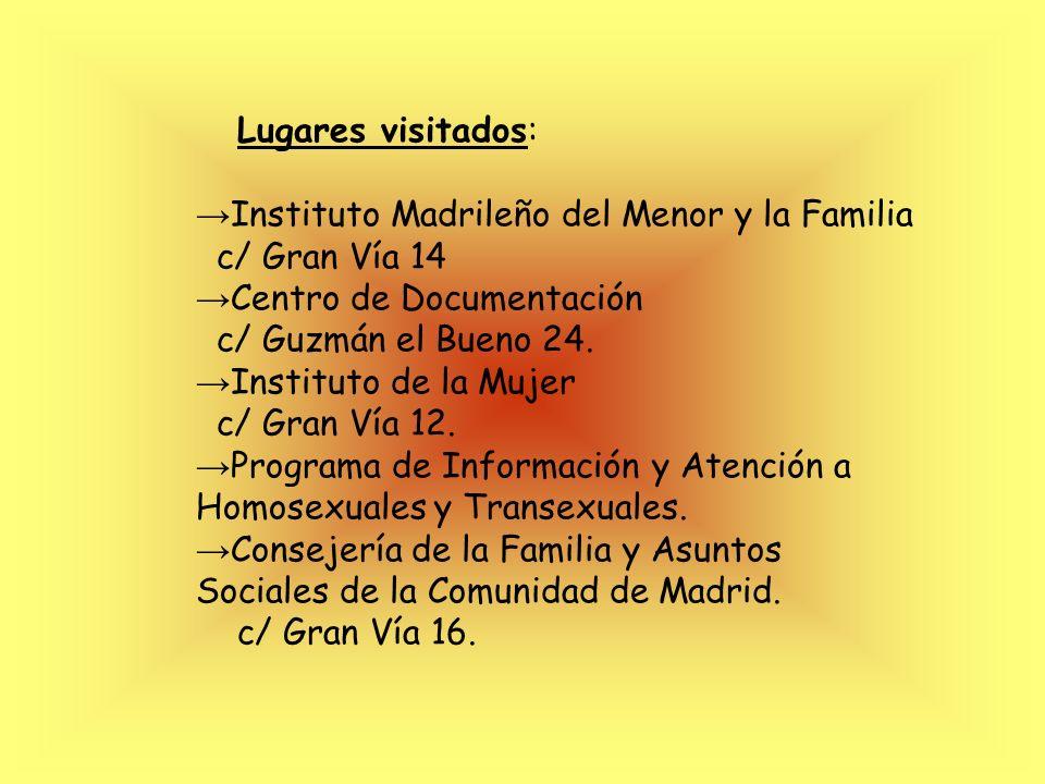 Lugares visitados:→Instituto Madrileño del Menor y la Familia. c/ Gran Vía 14. →Centro de Documentación.