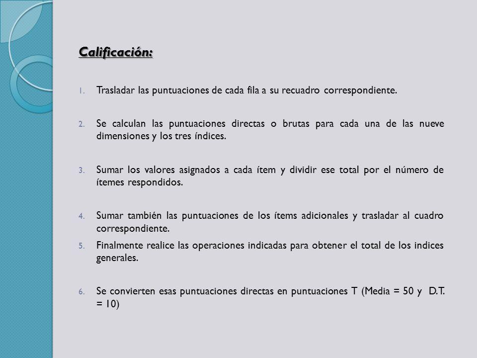 Calificación: Trasladar las puntuaciones de cada fila a su recuadro correspondiente.