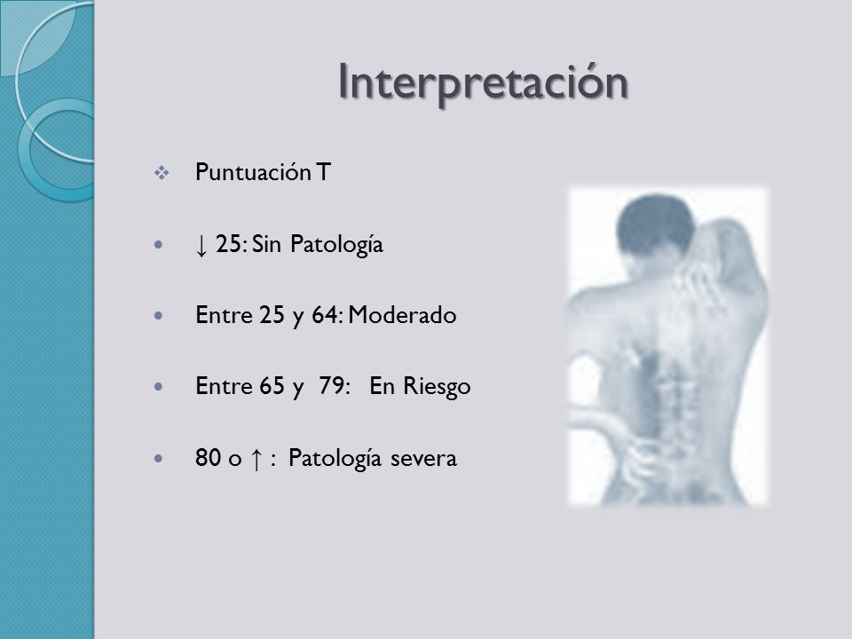 Interpretación Puntuación T ↓ 25: Sin Patología