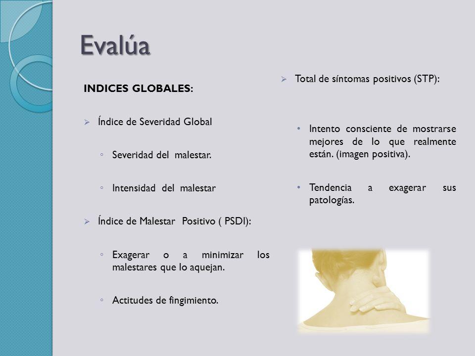 Evalúa Total de síntomas positivos (STP): INDICES GLOBALES: